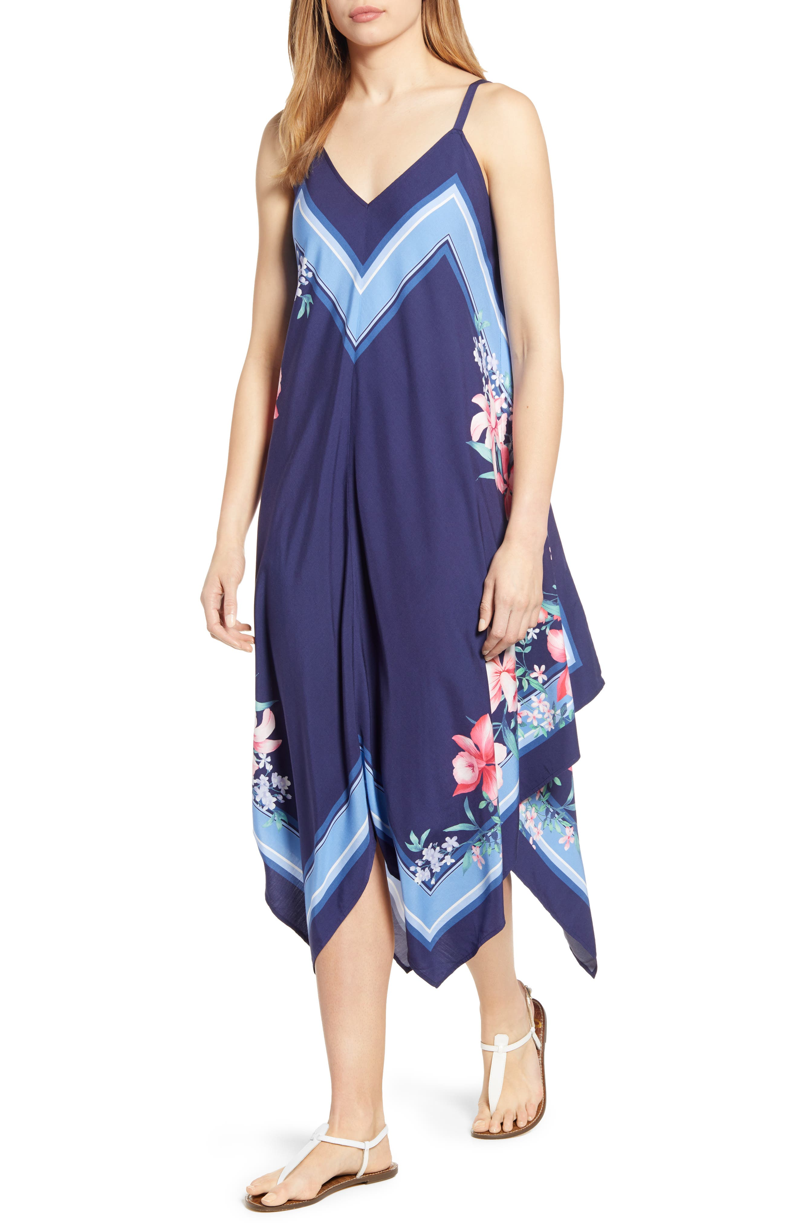 Tommy Bahama Bellisima Blossoms Handkerchief Sundress, Blue