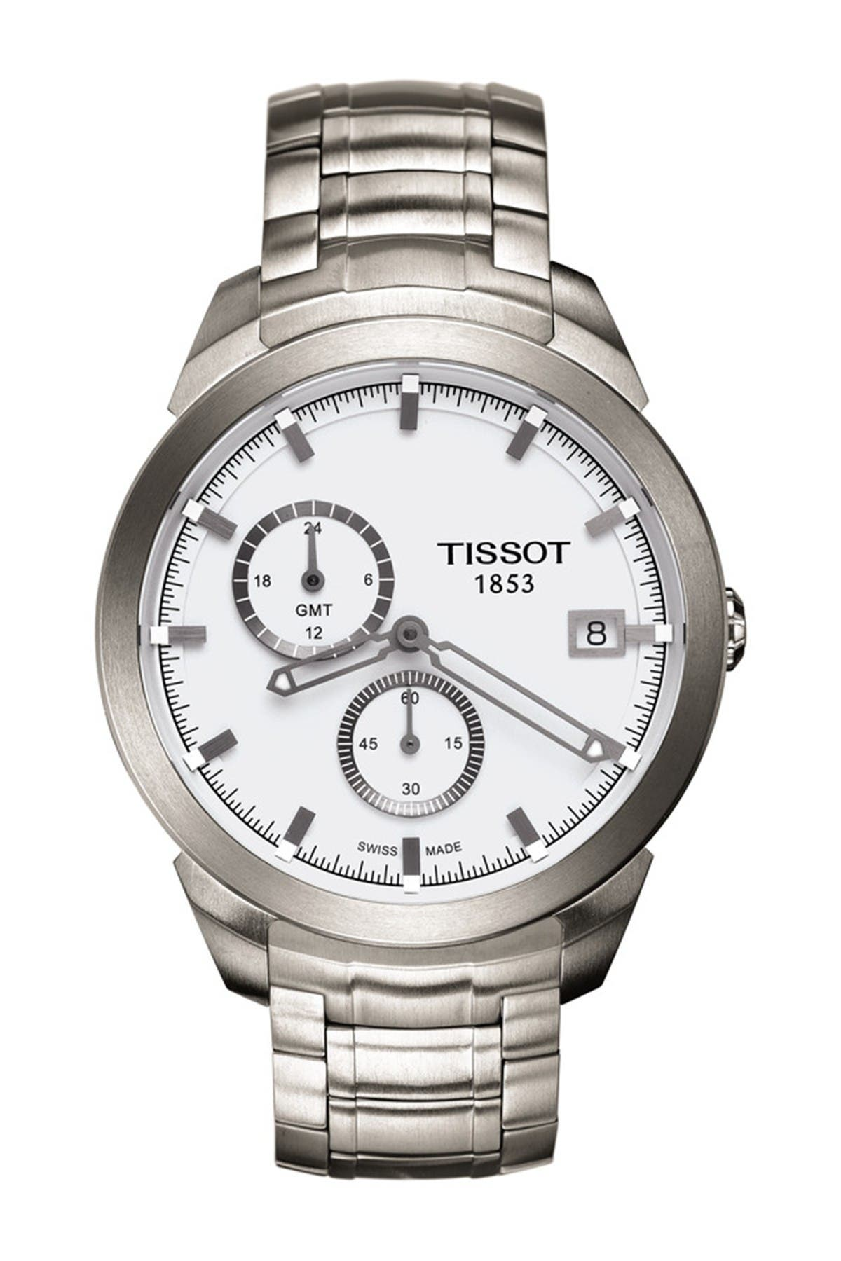 Image of Tissot Men's Titanium GMT Bracelet Watch, 43mm