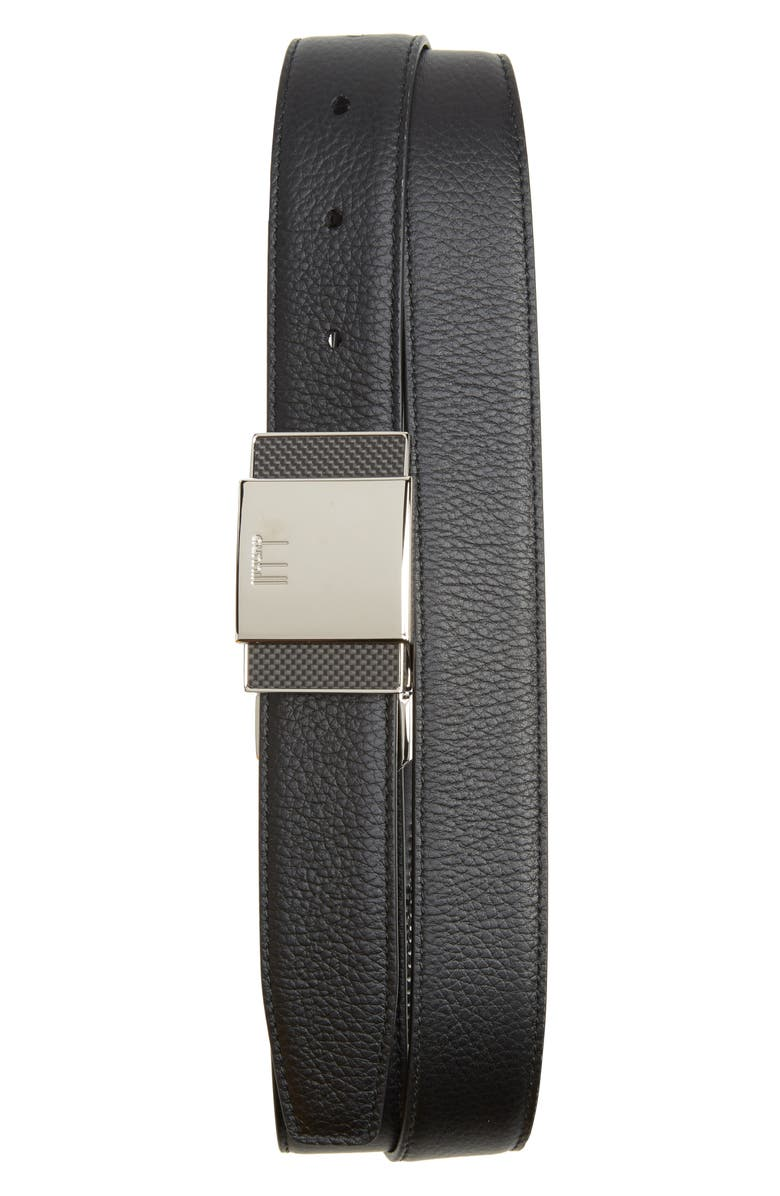 DUNHILL Plate Buckle Reversible Leather Belt, Main, color, 001
