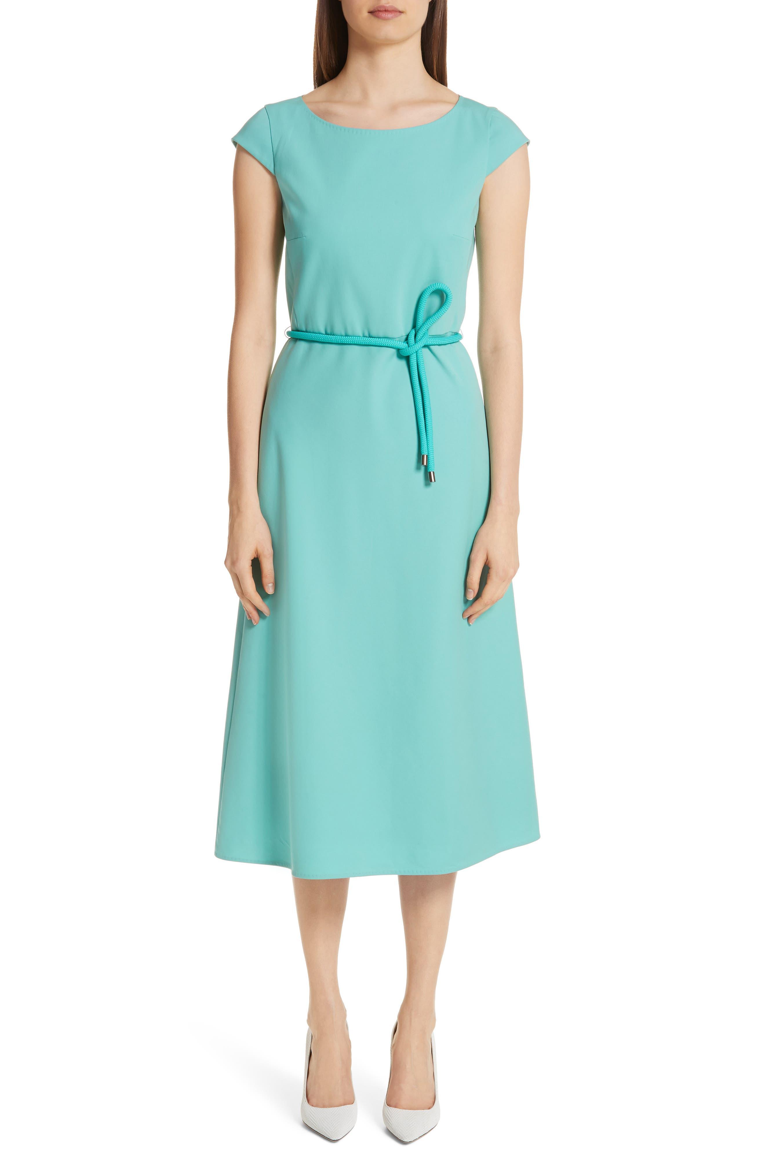Max Mara Opunzia Belted Midi Dress, Blue