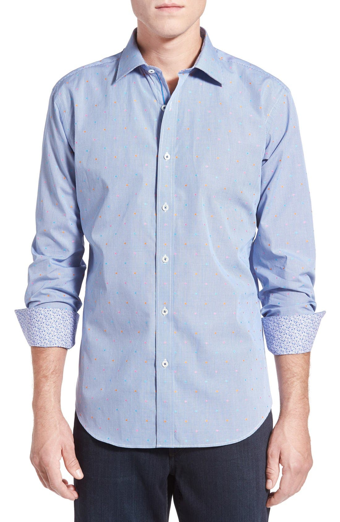 Bugatchi Mens Cut Dobby Cotton Fitted Long Sleeve Sport Shirt