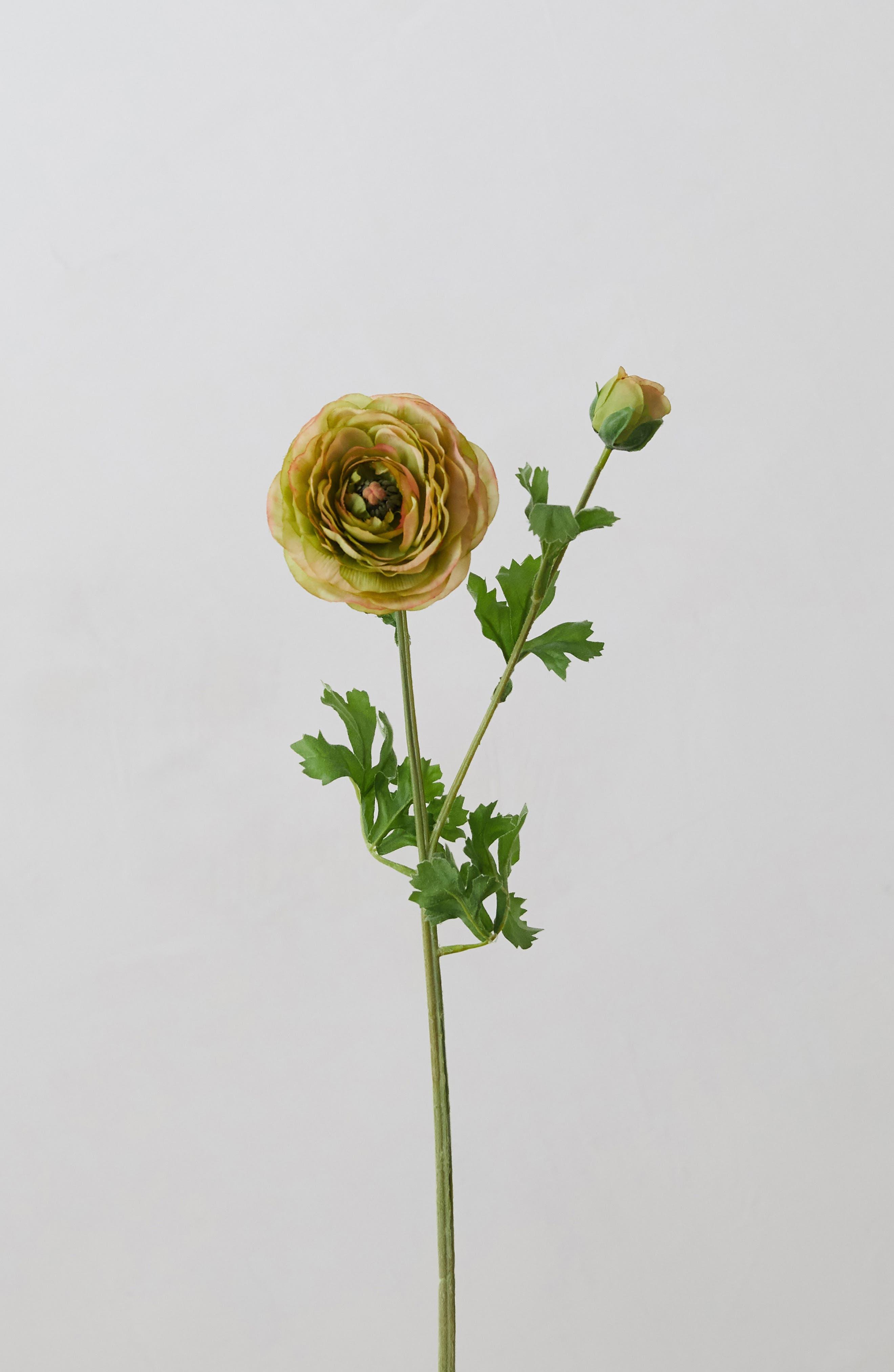 Faux Ranunculus Spray, Main, color, YELLOW
