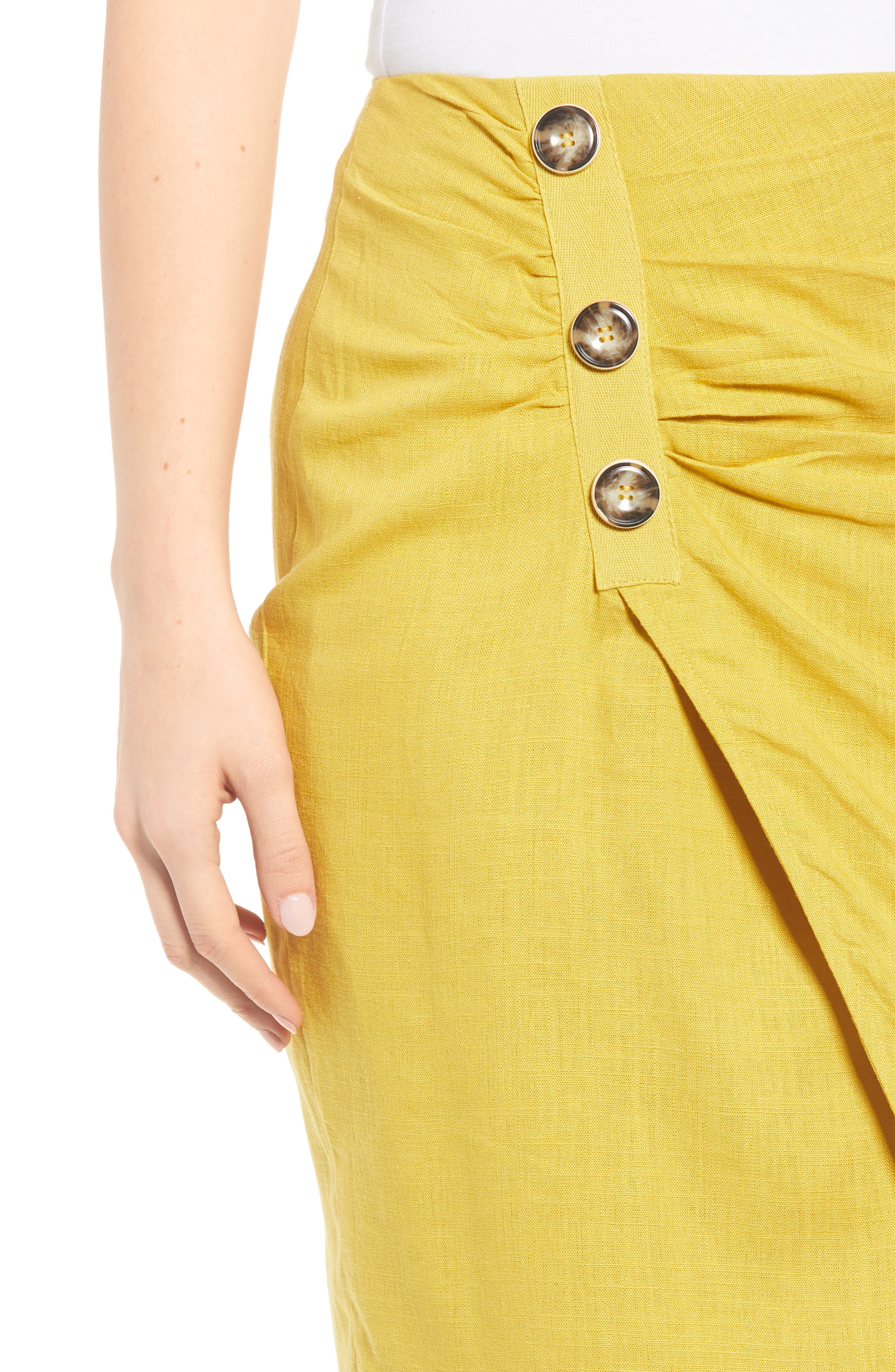 ,                             Side Button Cotton & Linen Midi Skirt,                             Alternate thumbnail 4, color,                             YELLOW