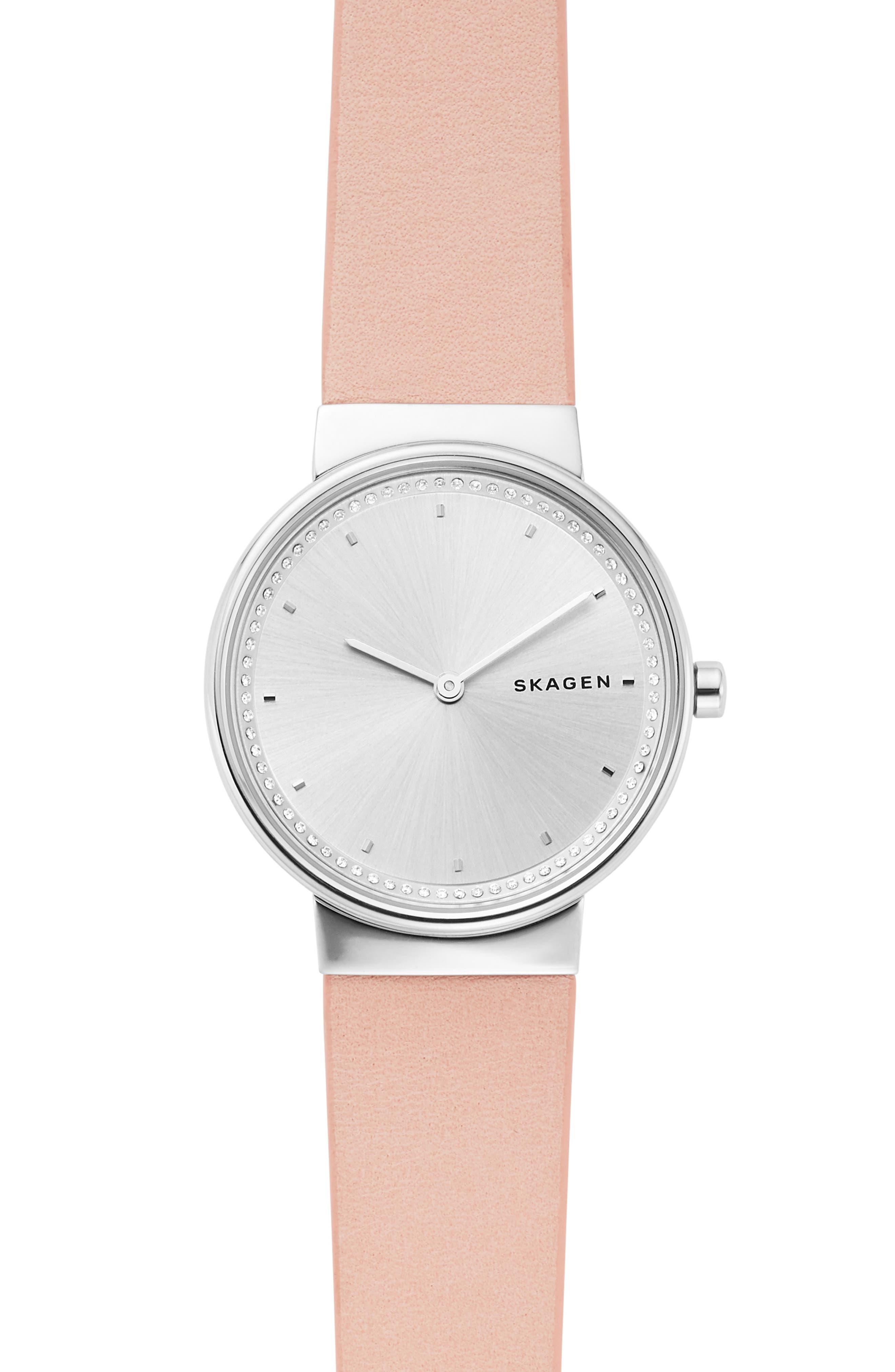 women's skagen annelie leather strap watch, 34mm
