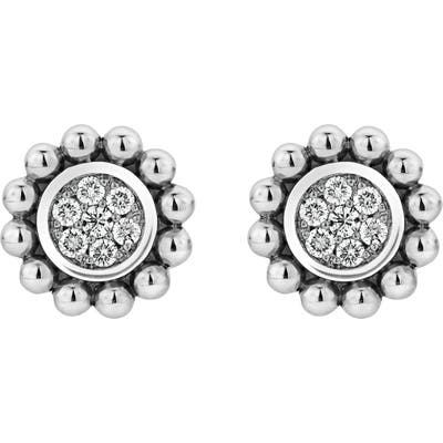Lagos Caviar Spark Diamond Pave Stud Earrings