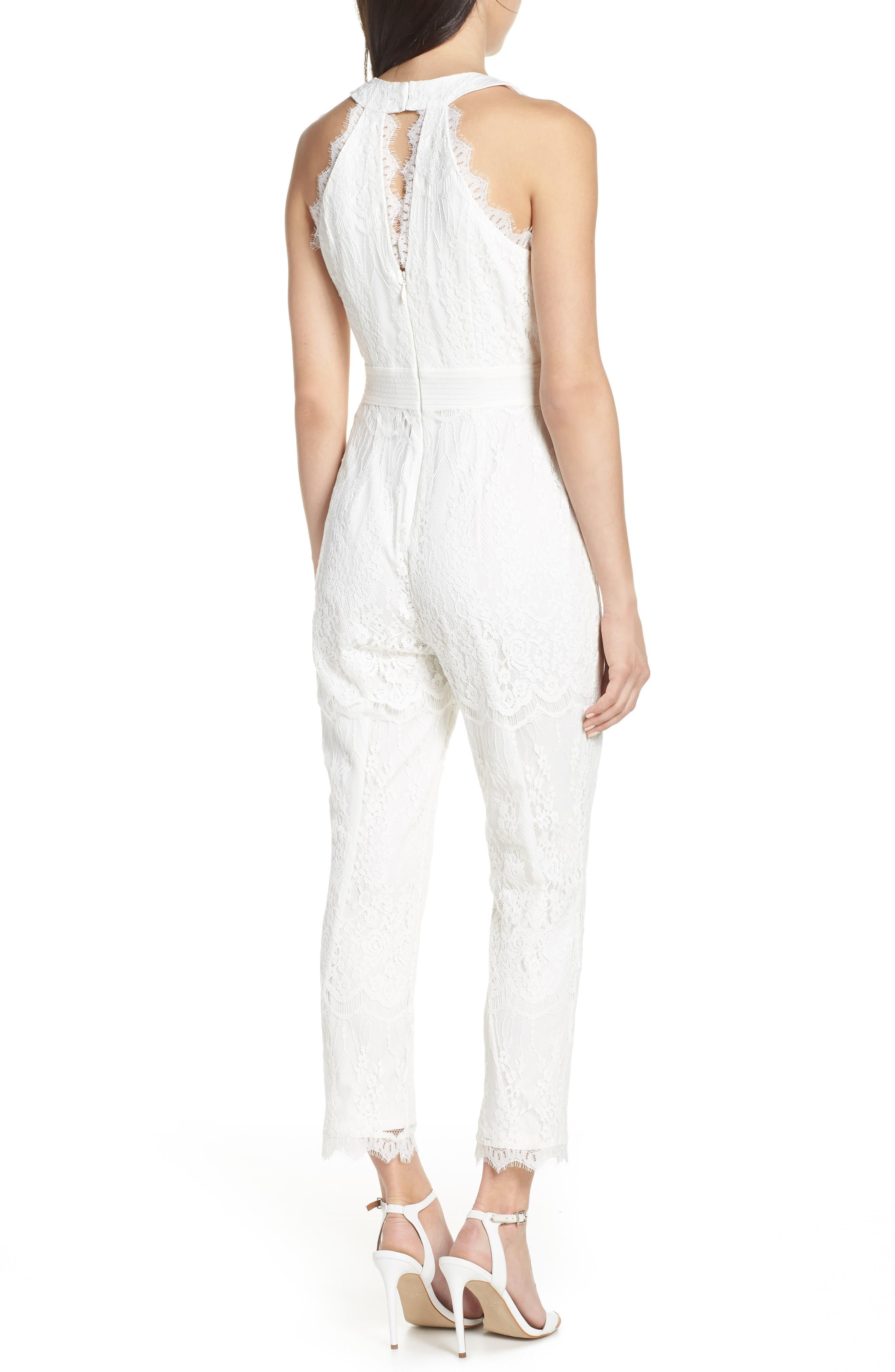 ,                             Scallop Trim Lace Jumpsuit,                             Alternate thumbnail 2, color,                             OFF WHITE