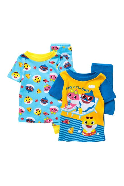 Image of AME Baby Shark 4-Piece T-Shirt & Shorts Pajama Set