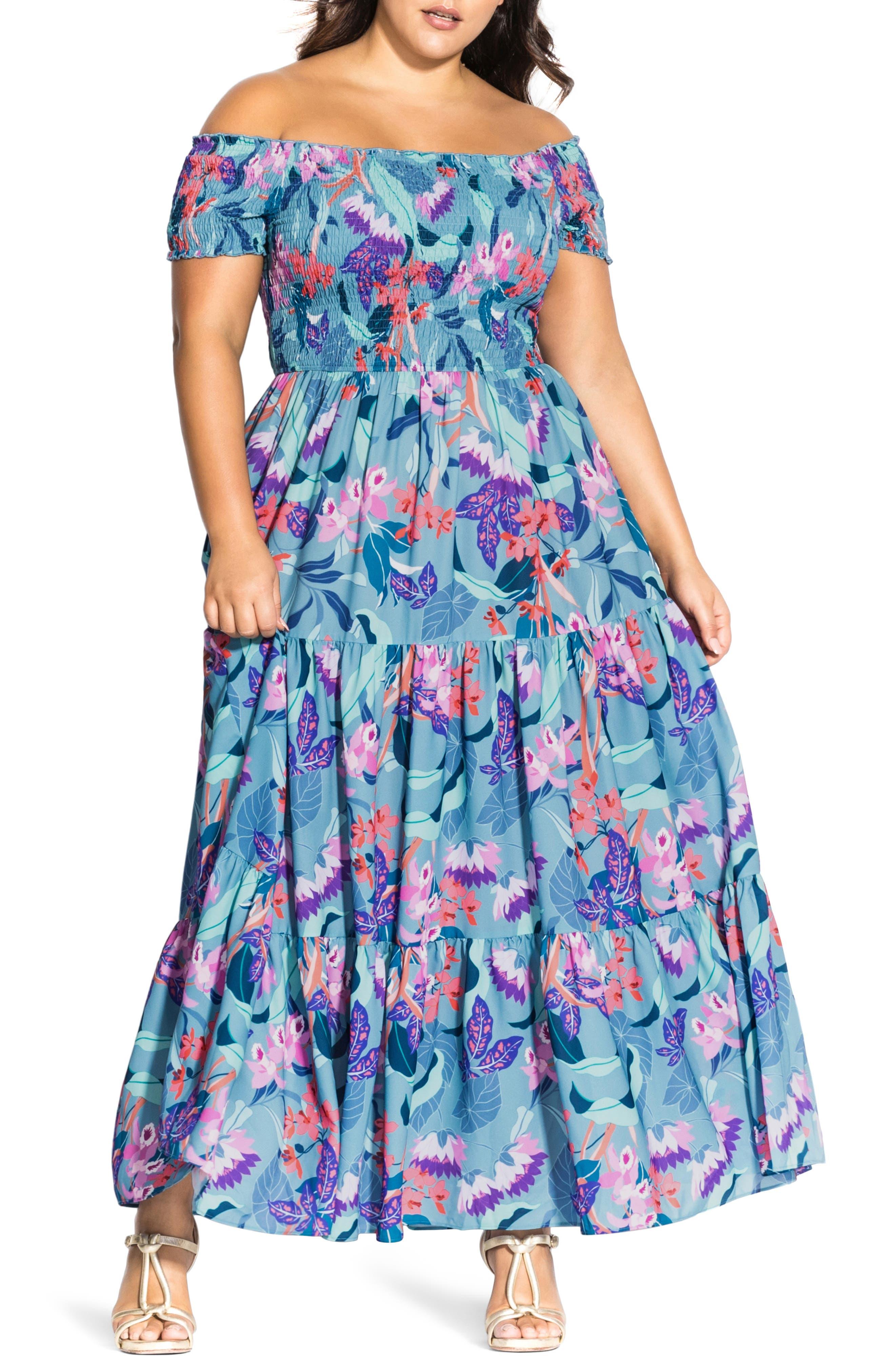 d4d9b768f3c2 Plus Size Chic City Mystery Floral Off-The Shoulder Maxi Dress, Blue
