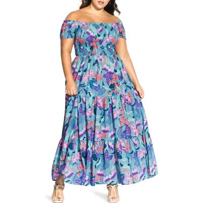 Plus Size Chic City Mystery Floral Off-The Shoulder Maxi Dress, Blue