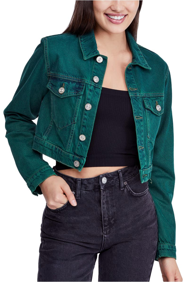 BDG URBAN OUTFITTERS Overdyed Crop Denim Jacket, Main, color, 300
