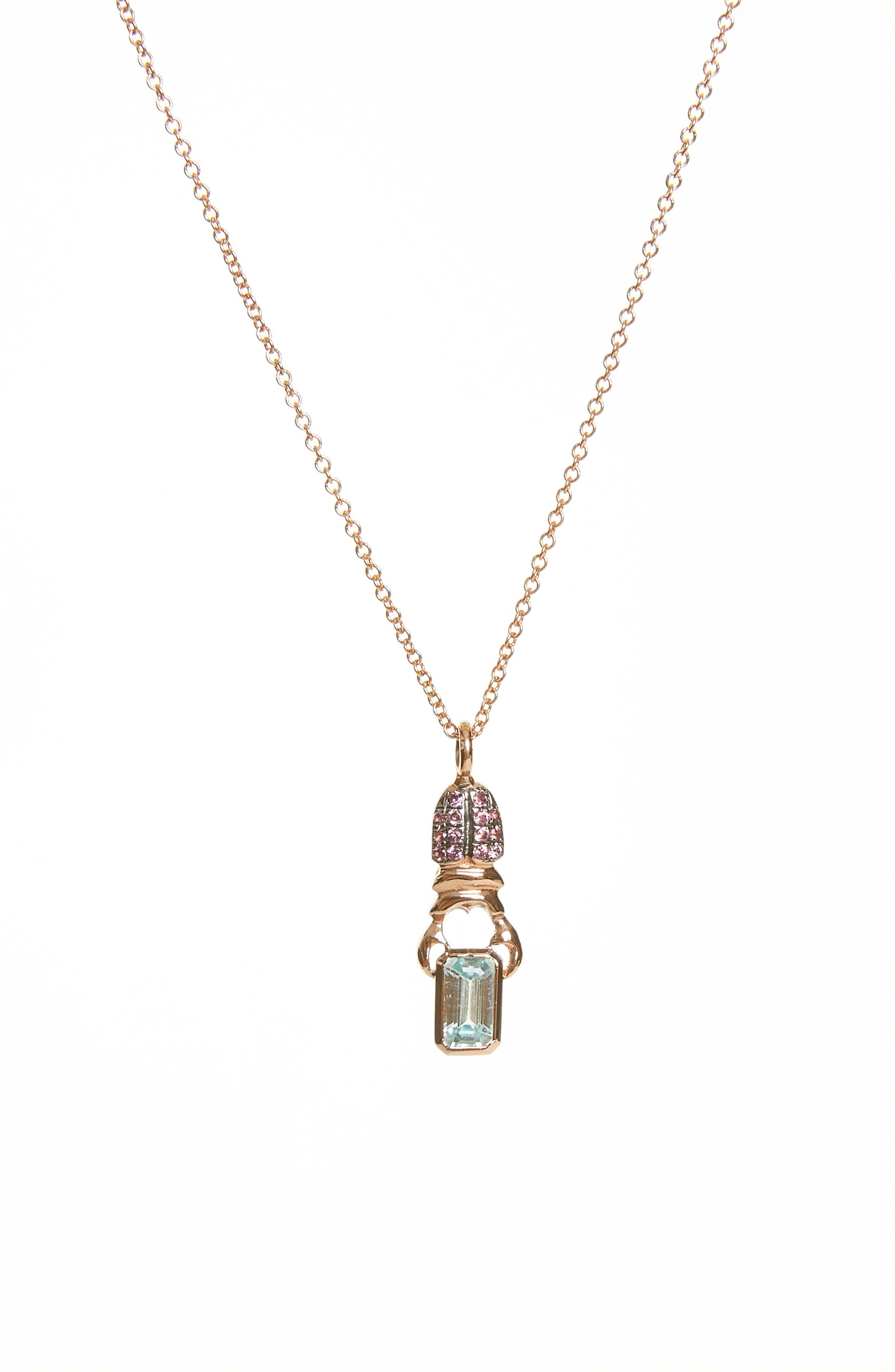 Khepri Pave Rhodolite & Blue Zircon Pendant Necklace