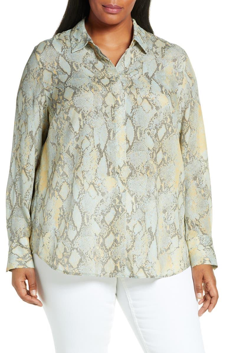LAFAYETTE 148 NEW YORK Scottie Sidewinder Snake Print Crepe Shirt, Main, color, SILVER SAGE MULTI