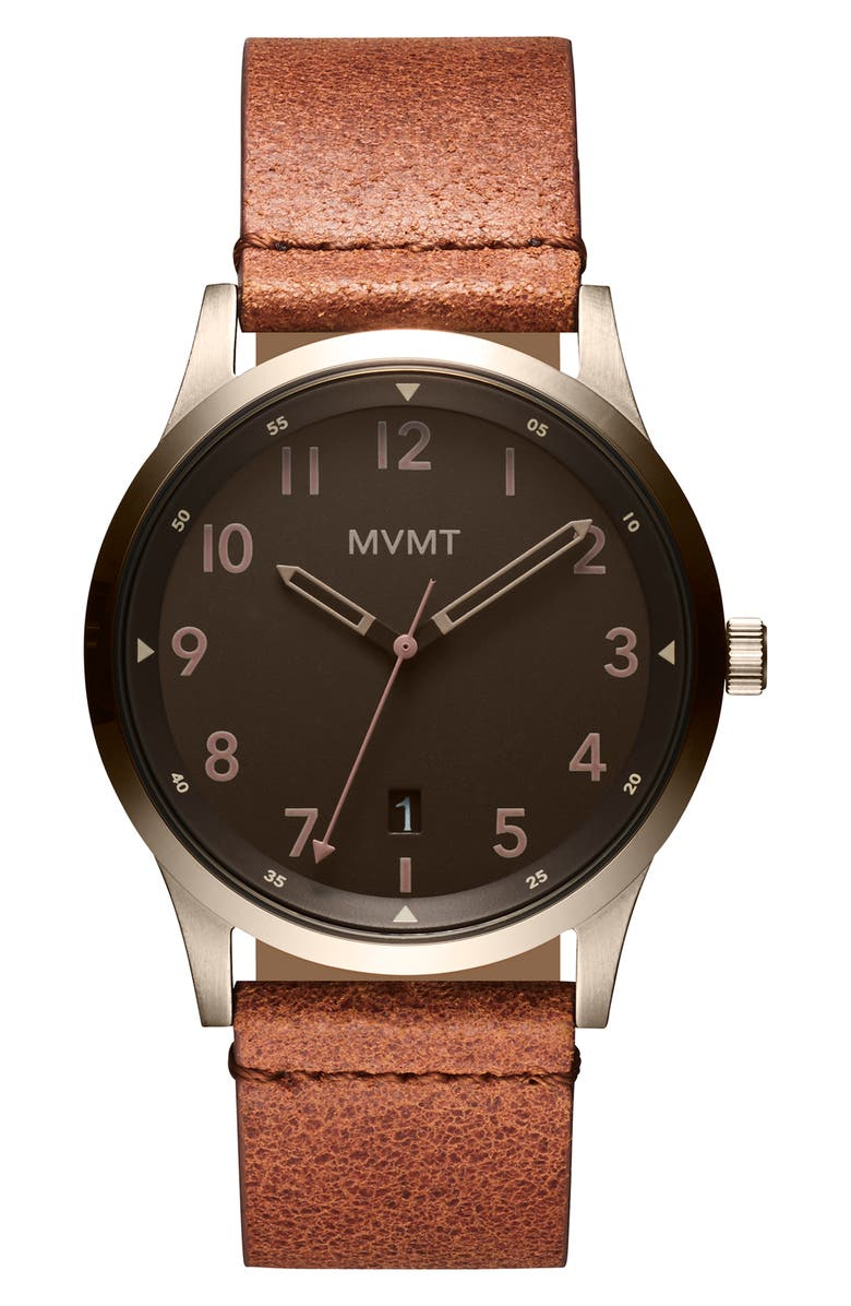 MVMT Field Nomad Leather Strap Watch, 41mm, Main, color, BROWN/ COFFEE/ BEIGE GOLD
