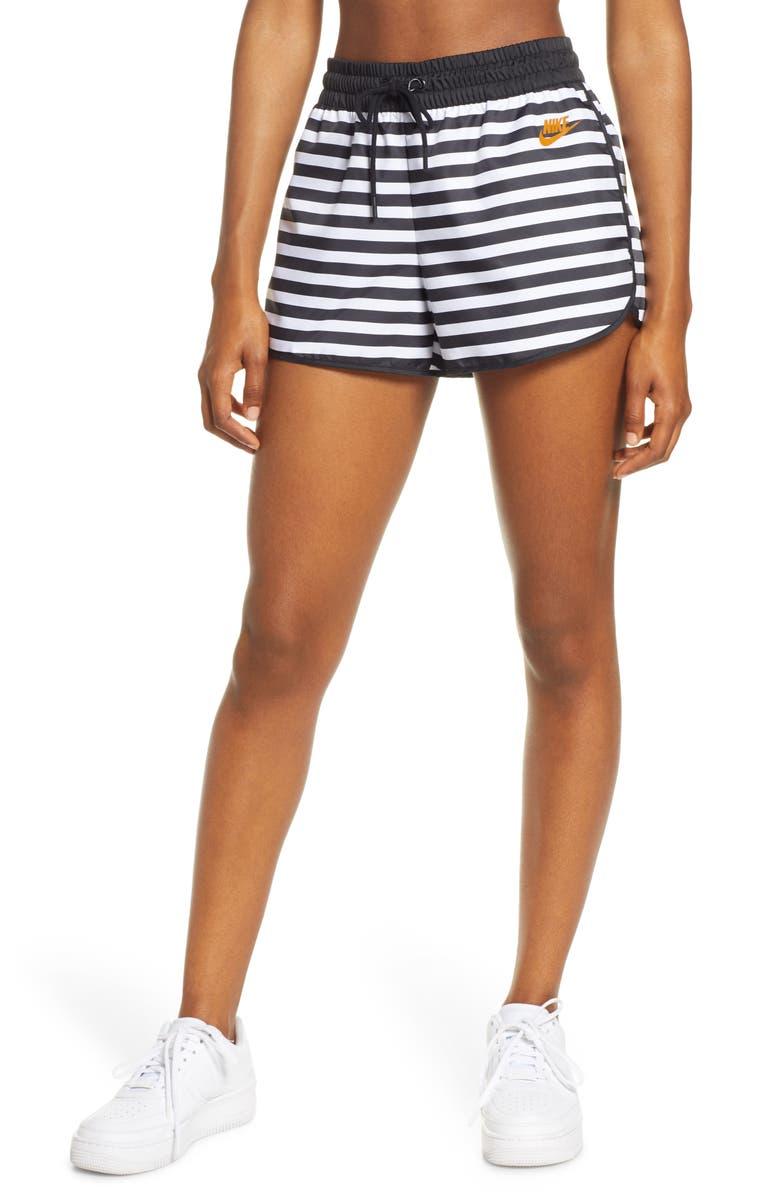 NIKE Sportswear Stripe Woven Shorts, Main, color, BLACK/ WHITE/ DESERT OCHRE