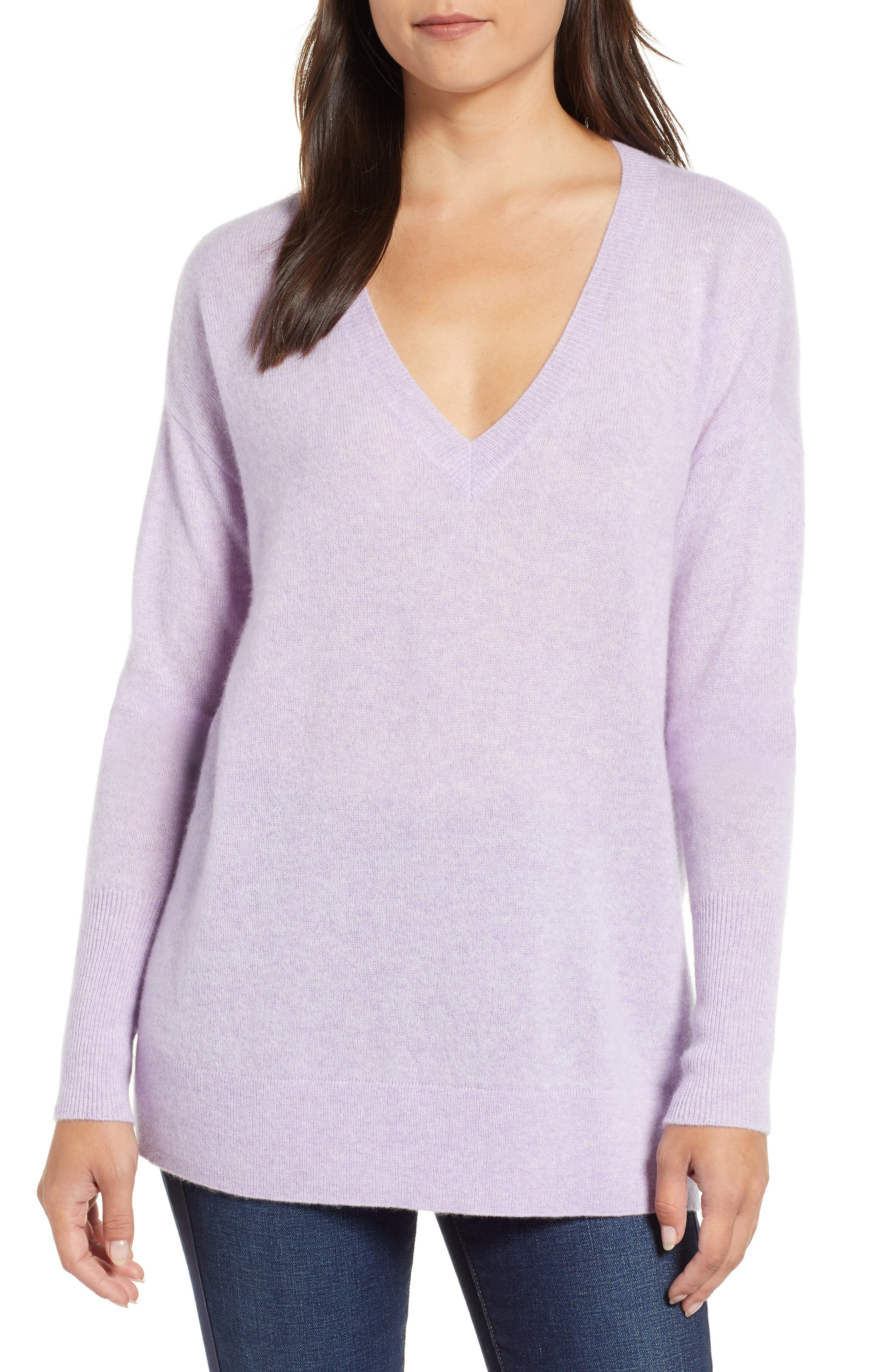 Relaxed V-Neck Cashmere Sweater, Main, color, 530