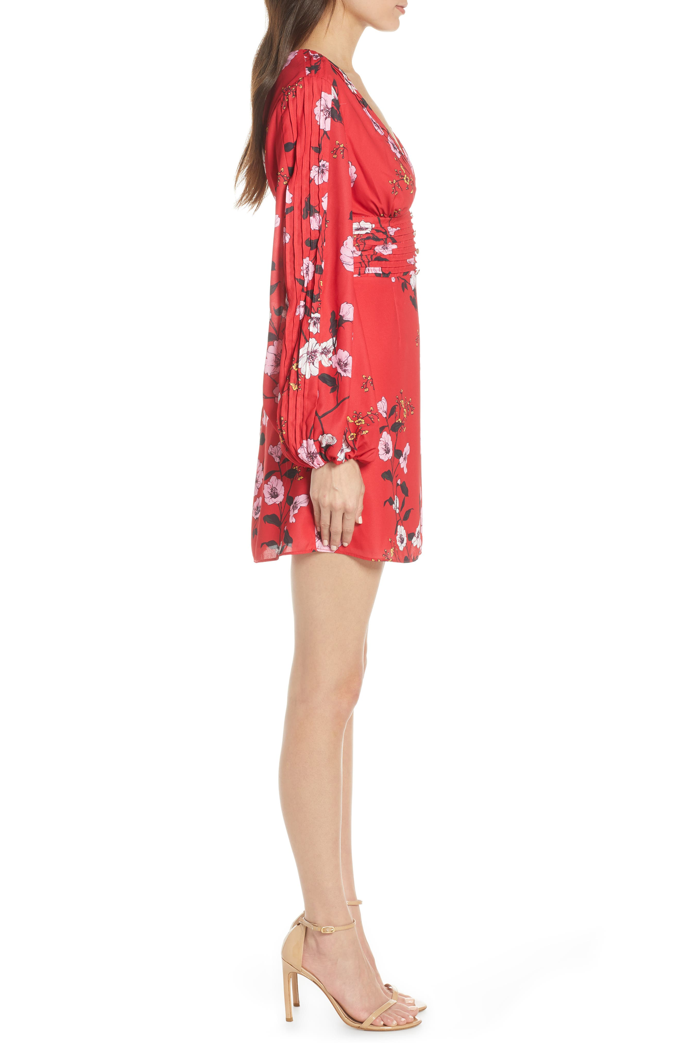 ,                             Darkness Floral Long Sleeve Minidress,                             Alternate thumbnail 4, color,                             SCARLET RED BLOOM