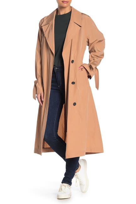 Image of Cole Haan Woven Button Front Trench Coat