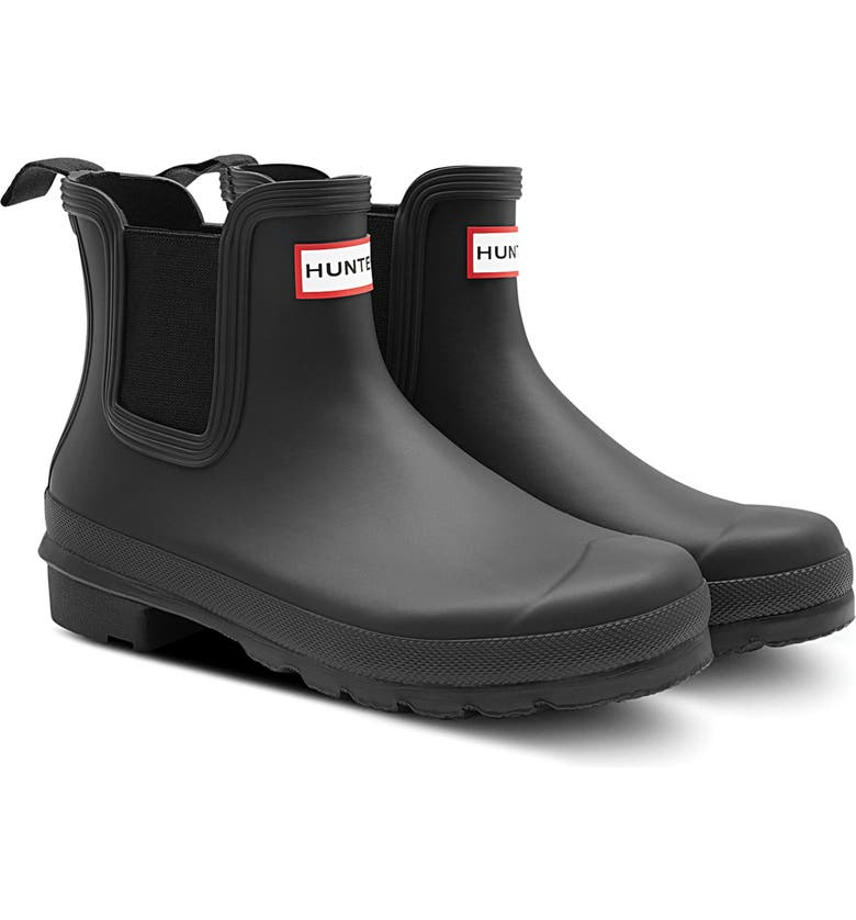 HUNTER Original Waterproof Chelsea Rain Boot, Main, color, BLACK/ BLACK