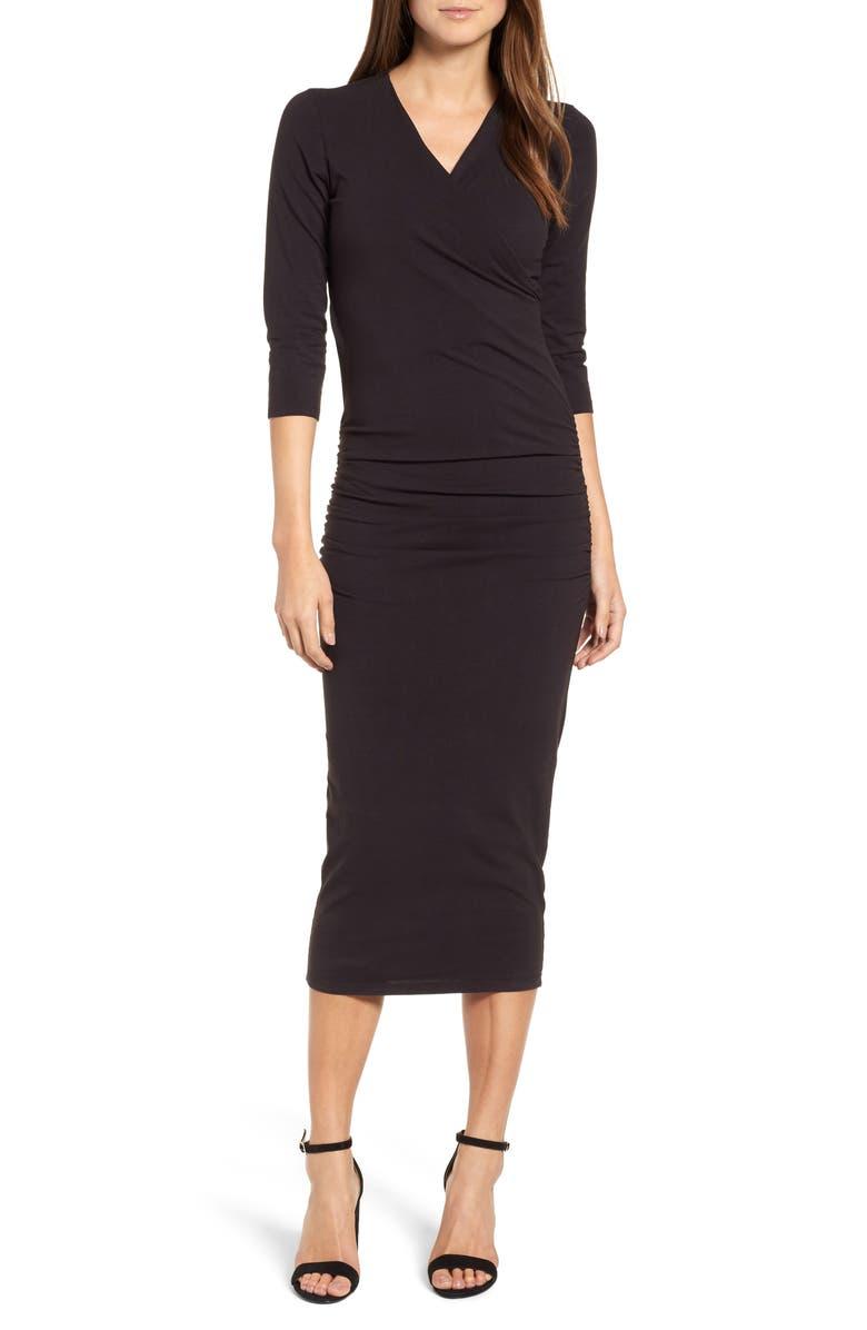 MICHAEL STARS Ruched Surplice Stretch Cotton Body-Con Dress, Main, color, Black