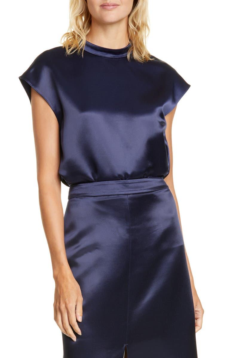 TIBI Cap Sleeve Top, Main, color, NAVY