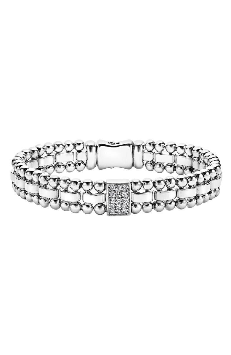 LAGOS Caviar Spark Diamond Rectangle Link Bracelet, Main, color, SILVER/ DIAMOND