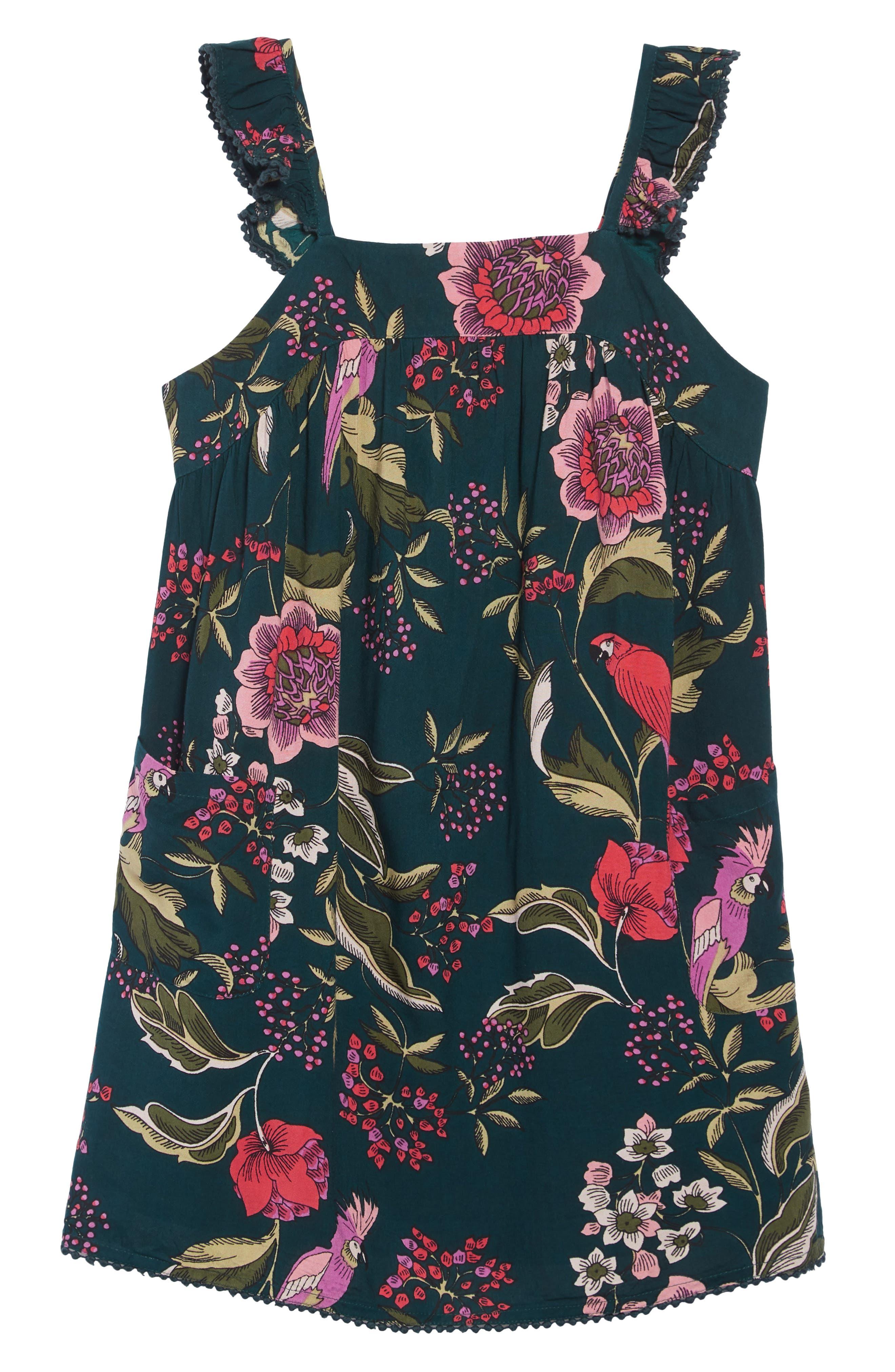 Tropical Print Dress, Main, color, GREEN