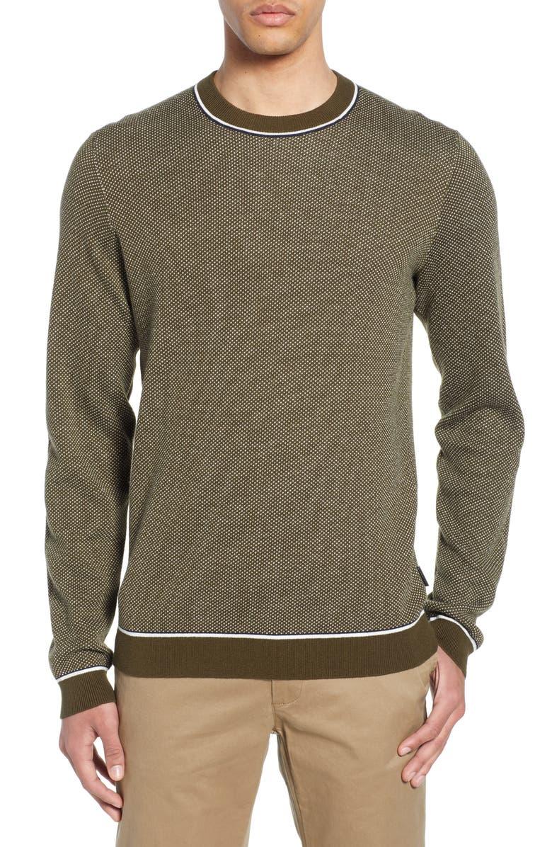 TED BAKER LONDON Slim Fit Bird's Eye Crewneck Sweater, Main, color, KHAKI
