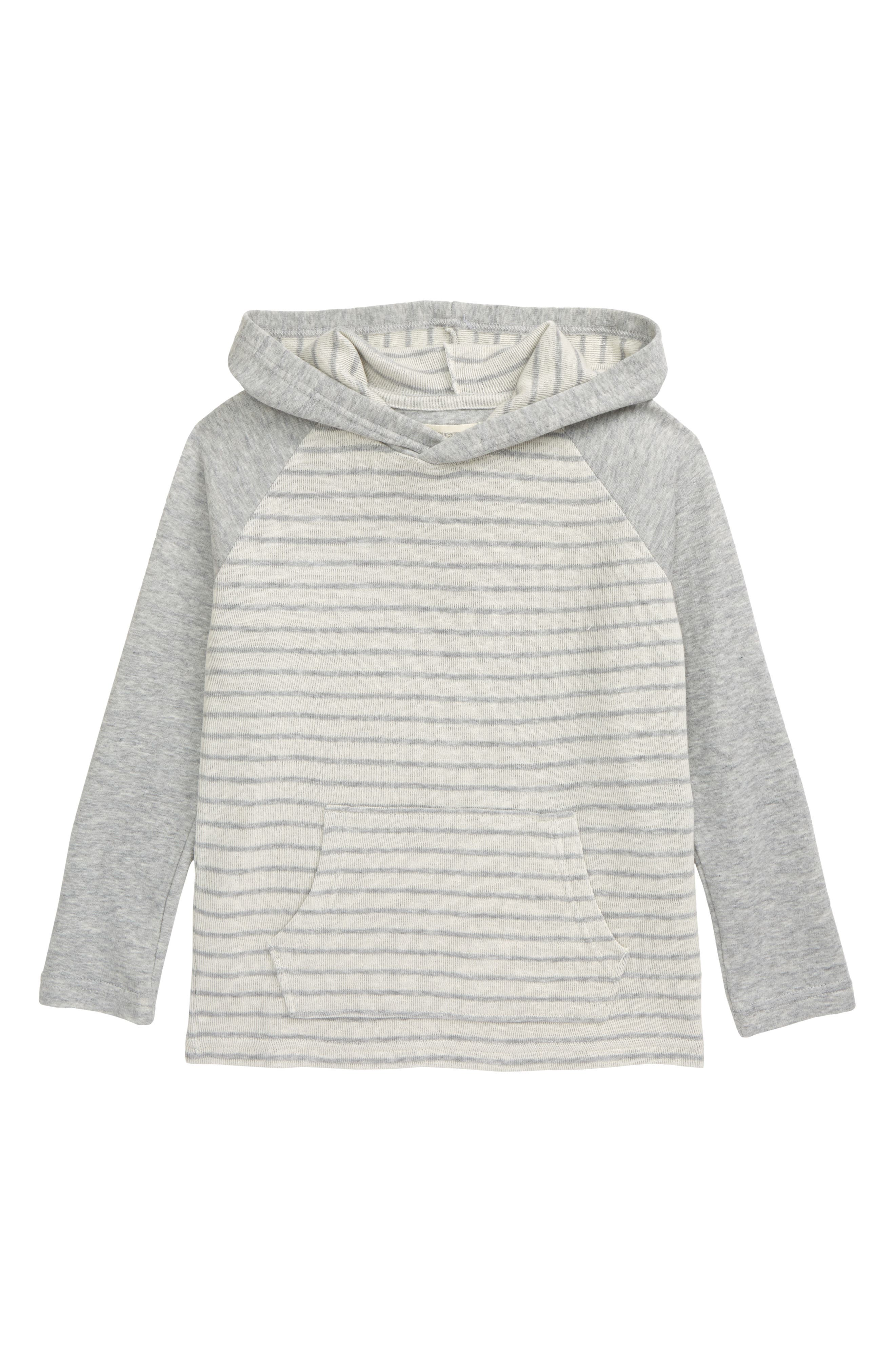 Contrast raglan sleeves underscore the sporty style of a striped hoodie that makes a layer-ready casual favorite. Style Name: Tucker + Tate Stripe Hoodie (Toddler & Little Boy). Style Number: 6017060. Available in stores.