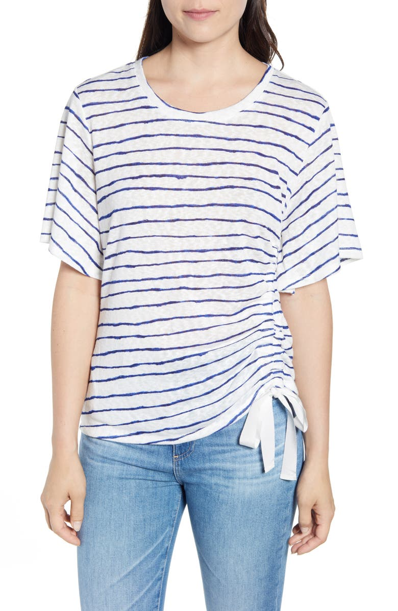 Wit Wisdom Stripe Ruched Side Tee Exclusive