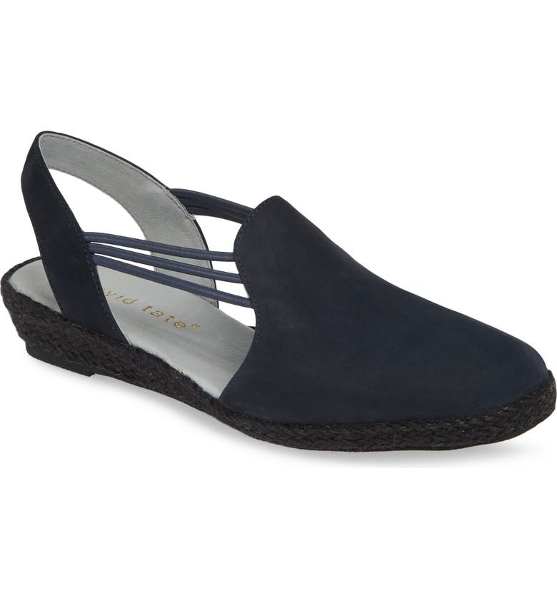 DAVID TATE 'Nelly' Slingback Wedge Sandal, Main, color, NAVY NUBUCK LEATHER