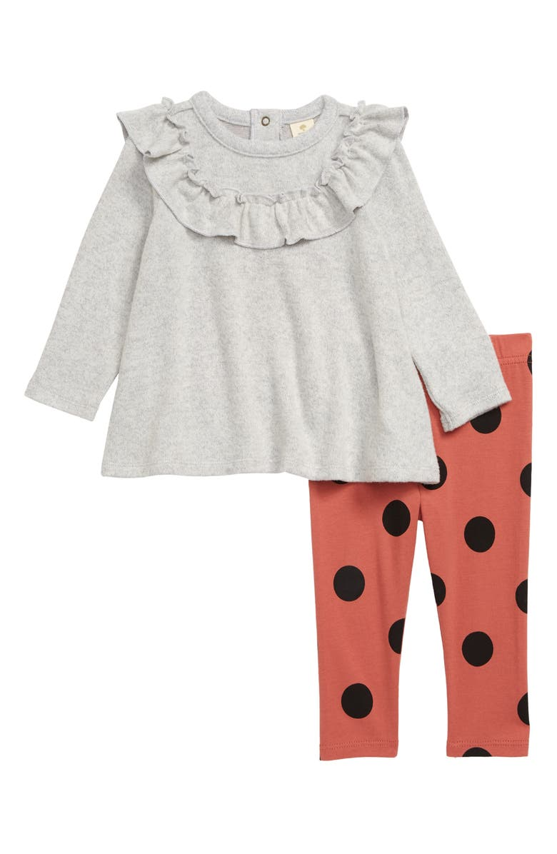TUCKER + TATE Cozy Ruffle Top & Leggings Set, Main, color, GREY ASH HEATHER- PINK DOT