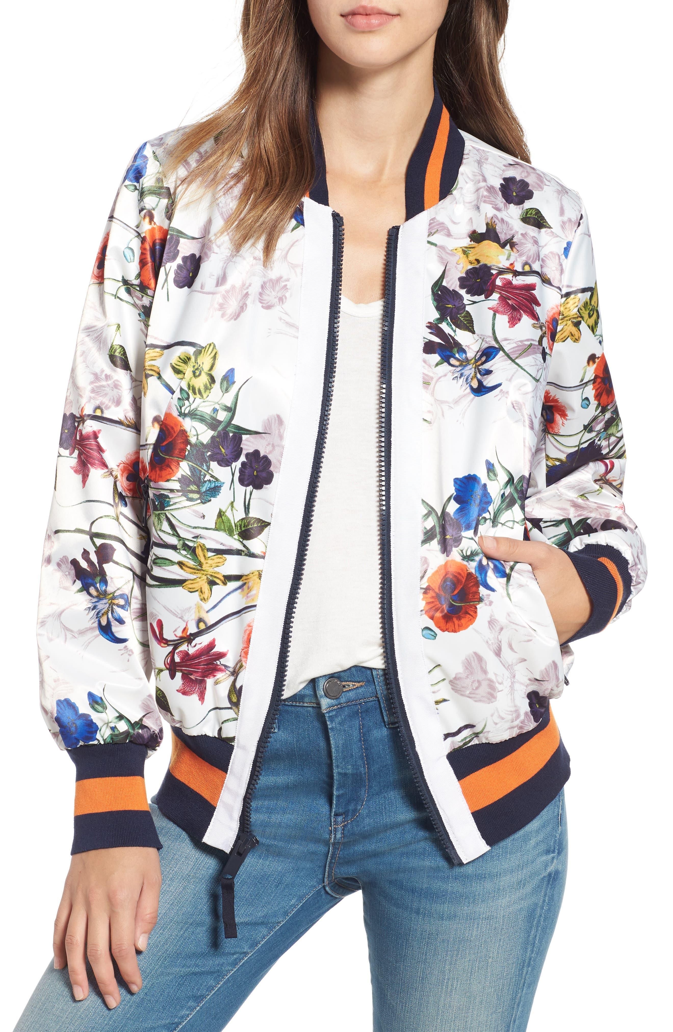Rachel Roy Womens Floral Bomber Transitional Jacket