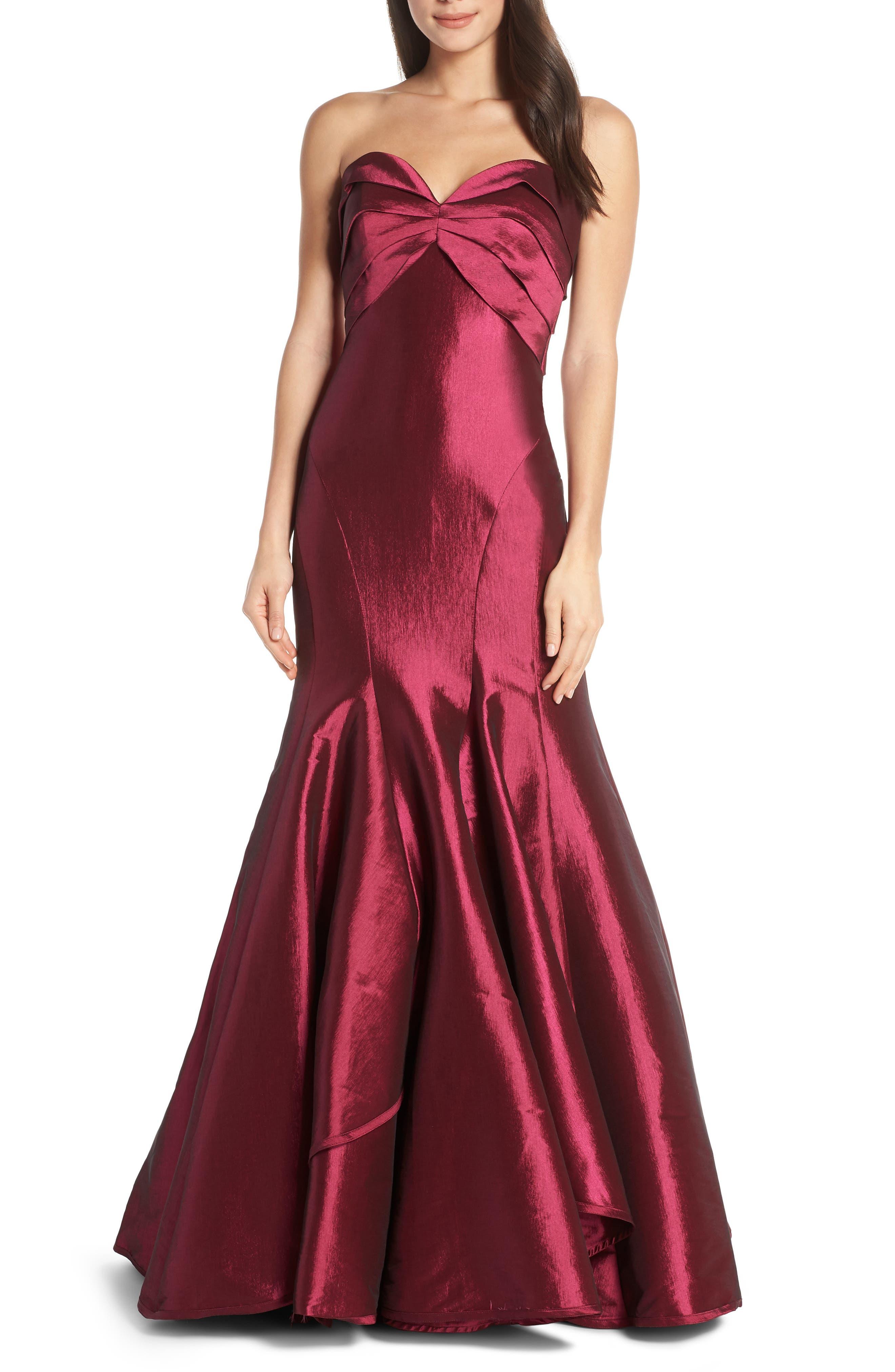 MAC Duggal Strapless Satin Mermaid Evening Dress, Red