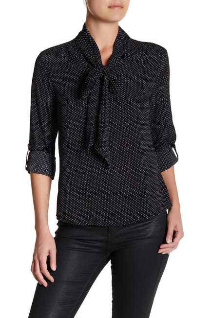 Image of BLVD Polka Dot Self-Tie Blouse