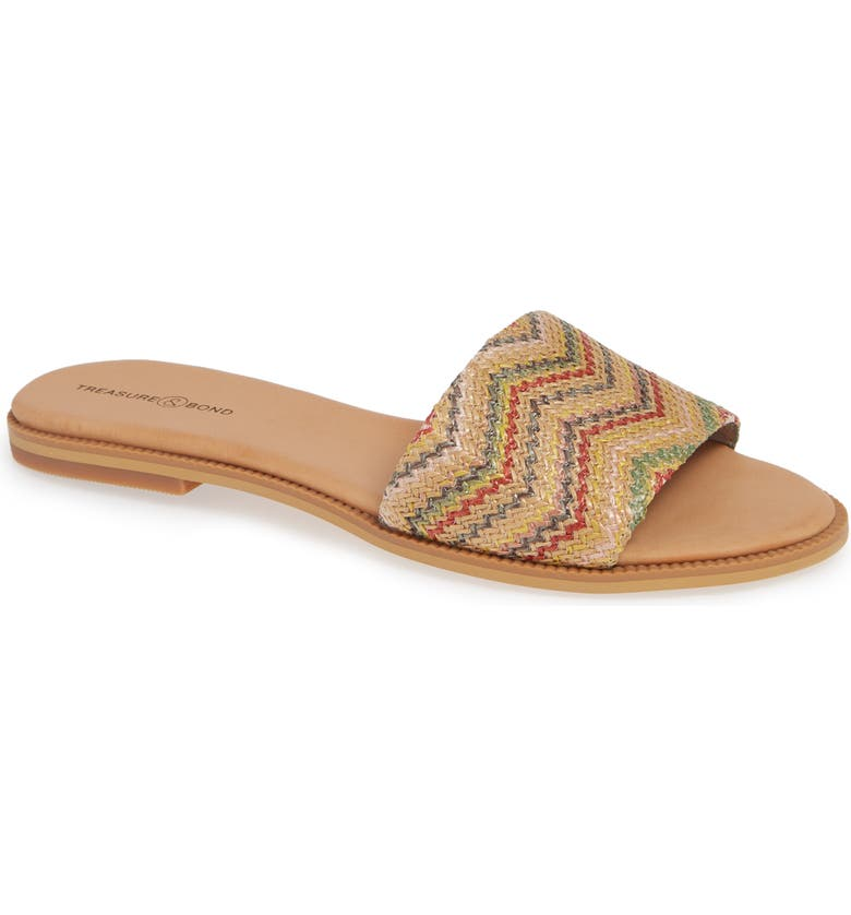 TREASURE & BOND Mere Flat Slide Sandal, Main, color, MULTI FAUX RAFFIA