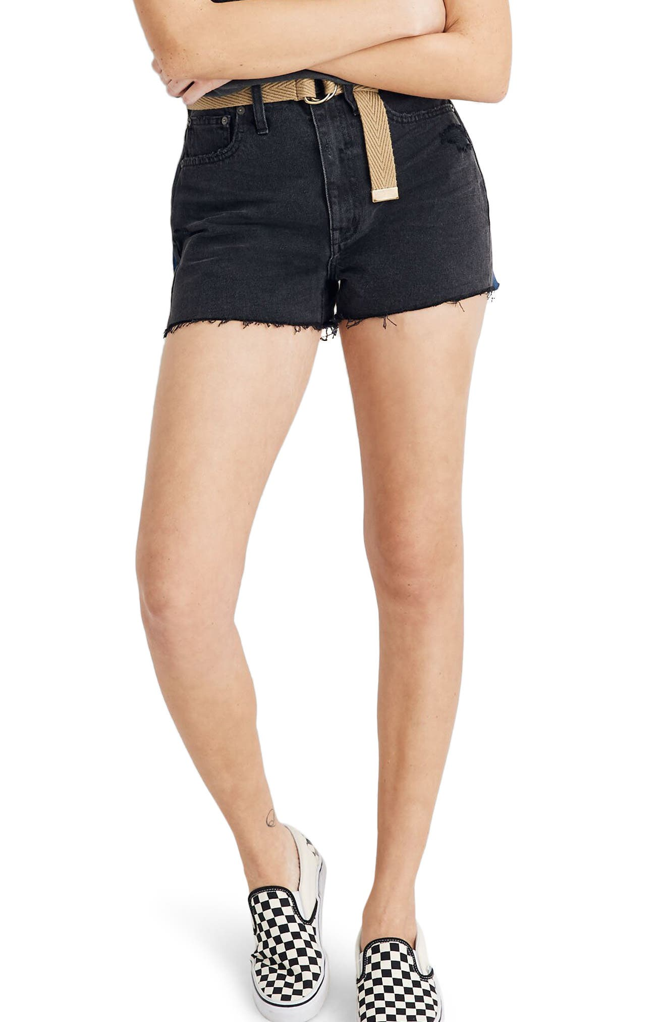 Women's Madewell Momjean Cutoff Denim Shorts,  29 - Black