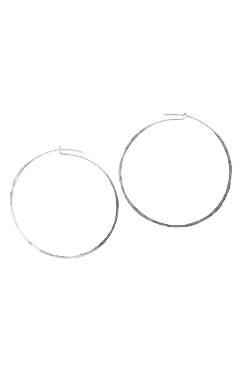 TERESSA LANE JEWELRY Hammered Hoop Earrings, Main, color, SILVER