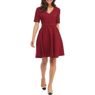 Gal Meets Glam Collection Clara Belted Fit & Flare Dress, Red