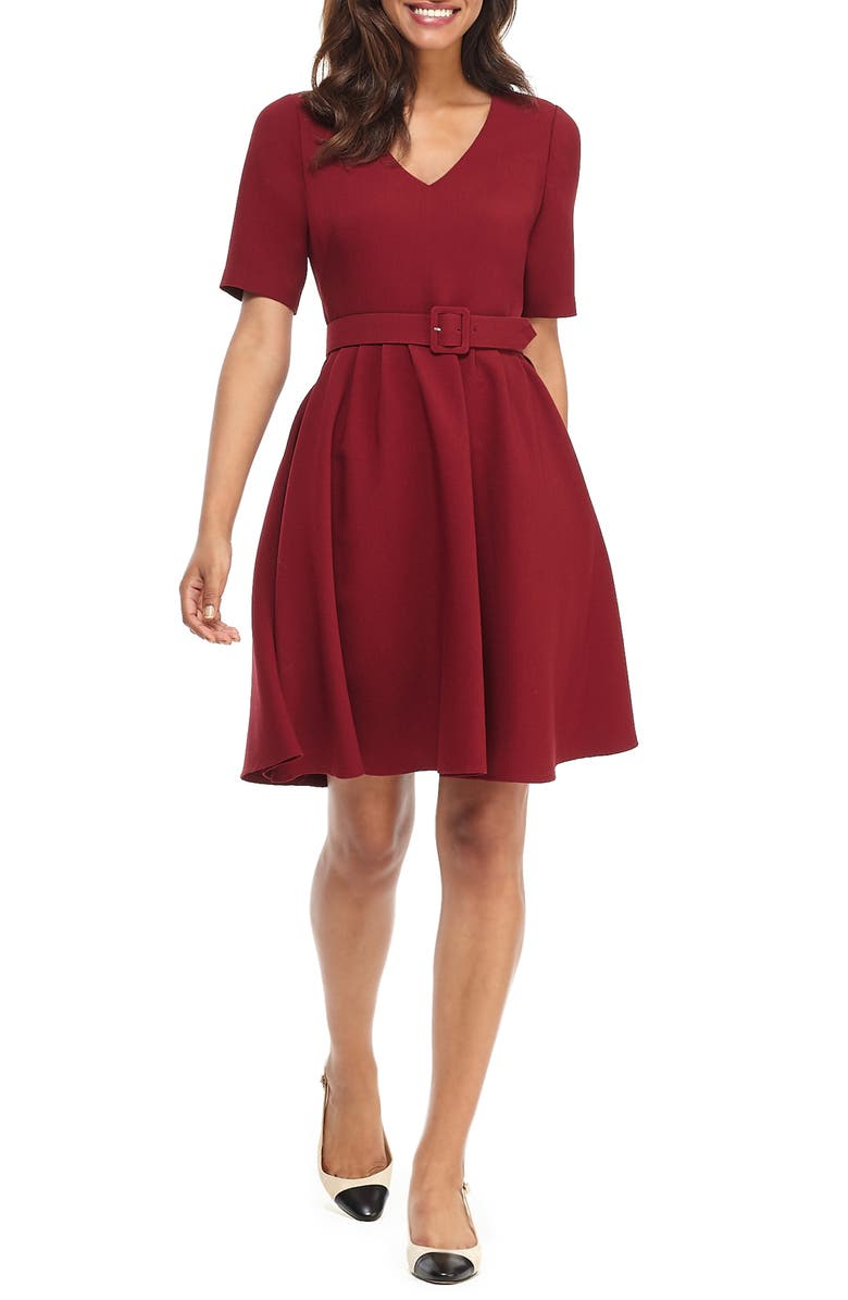 GAL MEETS GLAM COLLECTION Clara Belted Fit & Flare Dress, Main, color, VINO