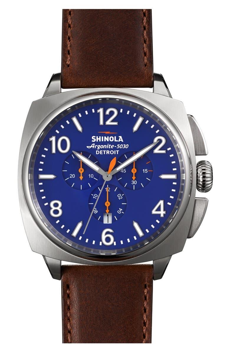 SHINOLA 'The Brakeman' Leather Strap Watch, 46mm, Main, color, 200