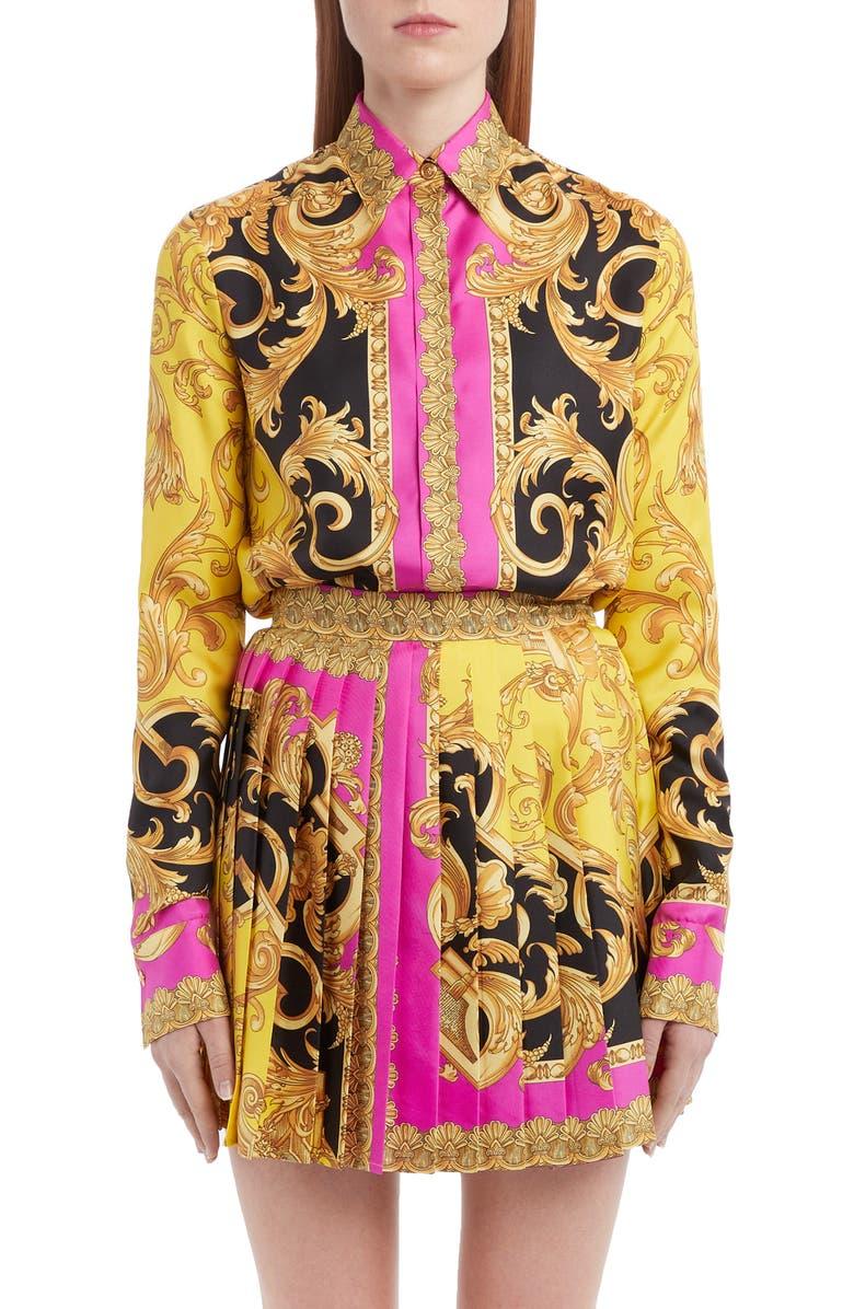 VERSACE Barco Print Silk Blouse, Main, color, FUCHSIA