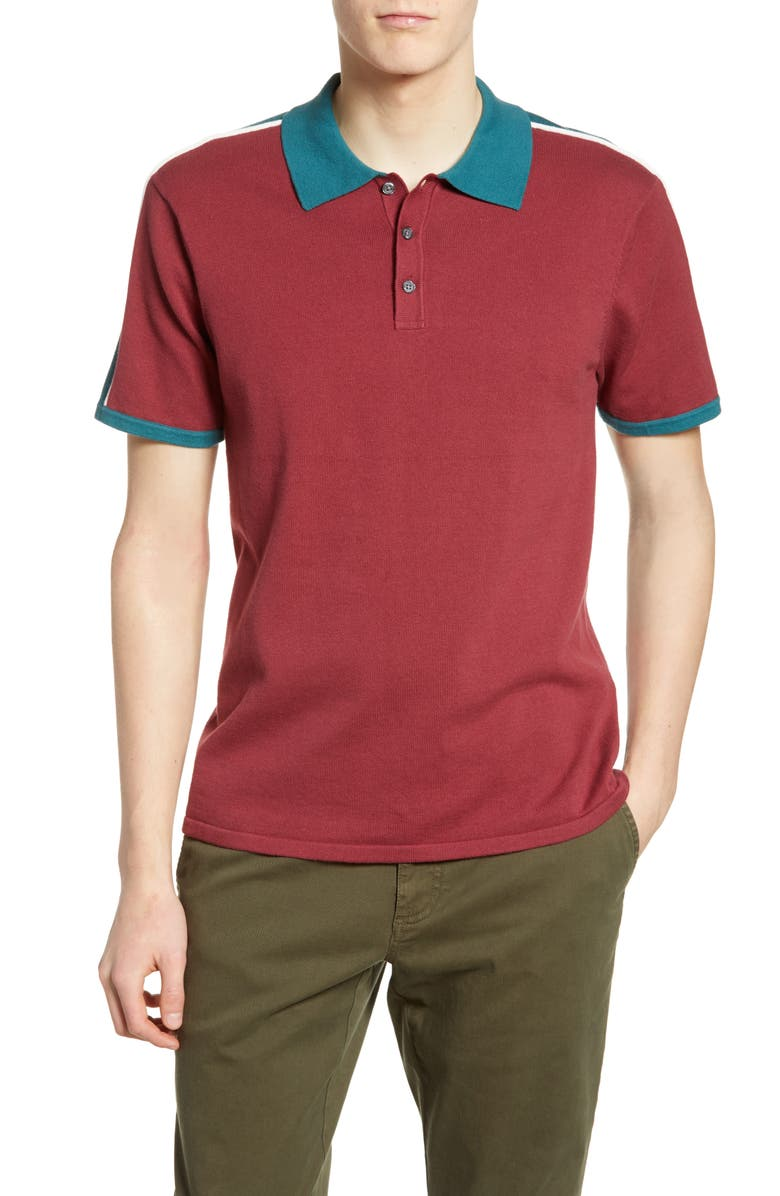 BP. Colorblock Knit Polo, Main, color, RED FIRE