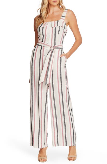 Vince Camuto Suits CANYON STRIPE SLEEVELESS LINEN BLEND JUMPSUIT