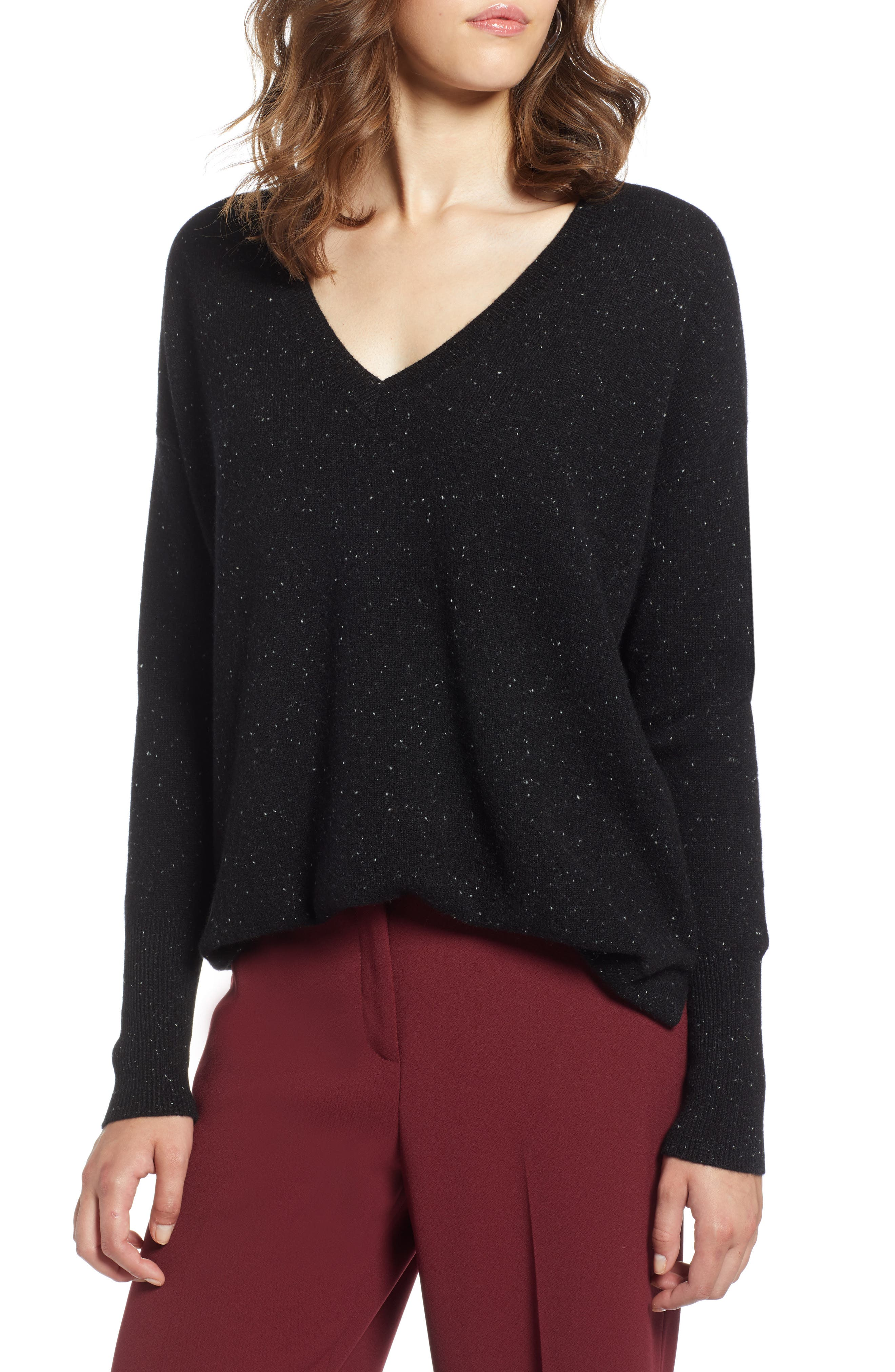 ,                             Relaxed V-Neck Cashmere Sweater,                             Main thumbnail 22, color,                             003