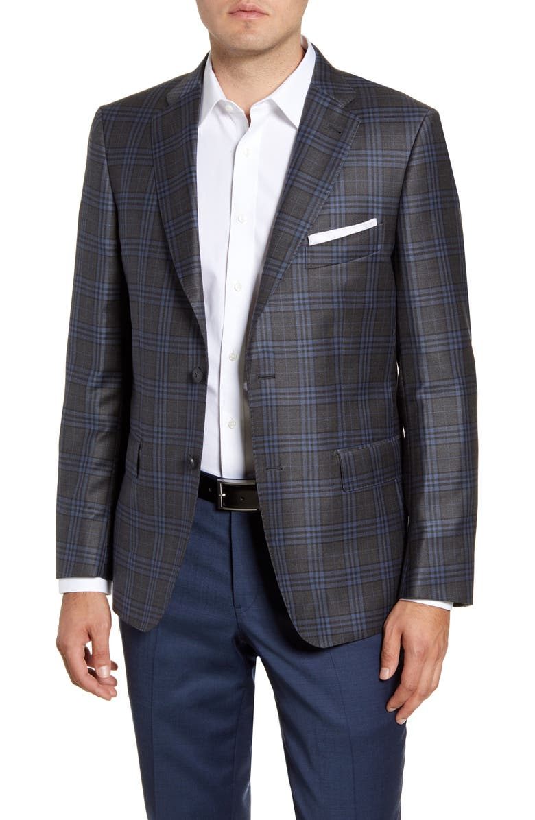 JOHN W. NORDSTROM<SUP>®</SUP> Regular Fit Plaid Wool Sport Coat, Main, color, GREY PAVEMENT BLUE PLAID