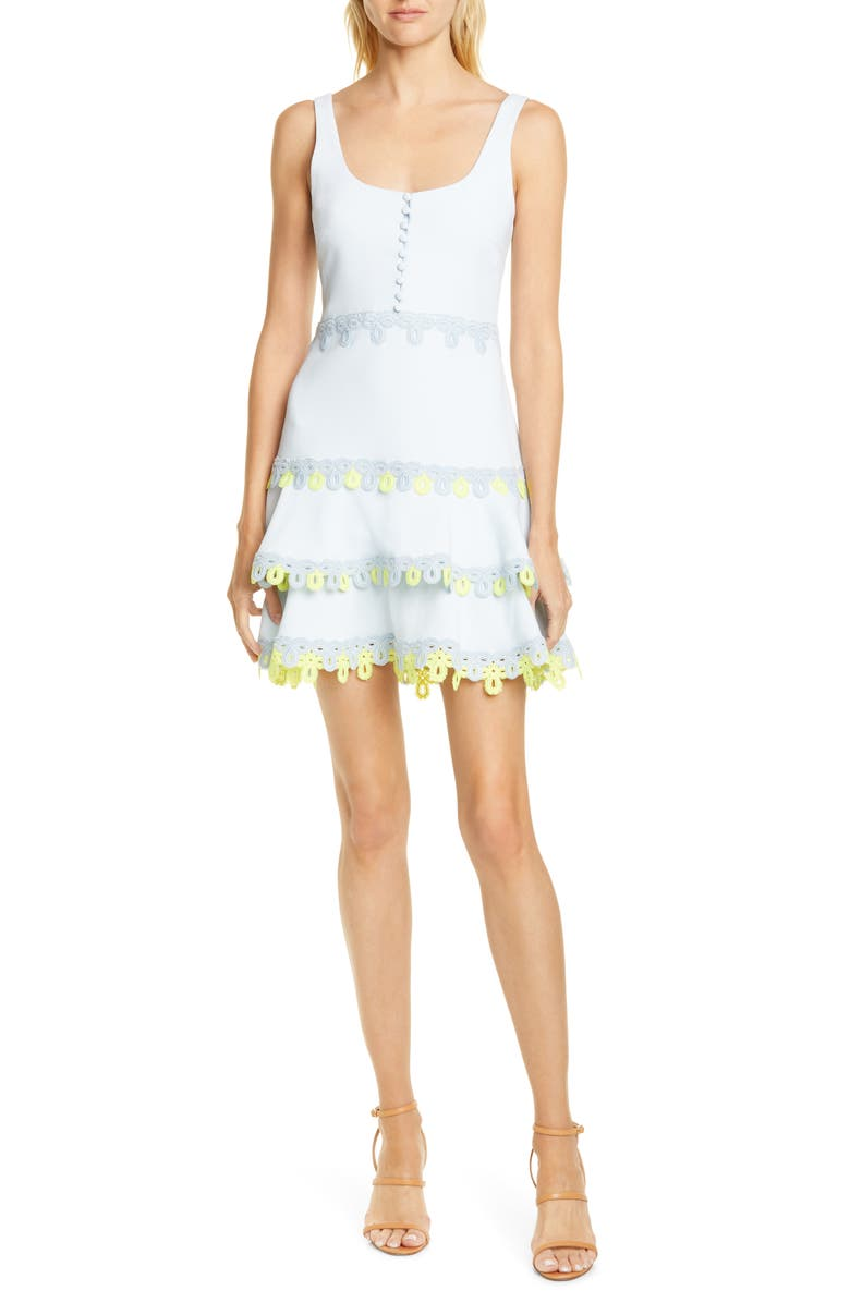 JONATHAN SIMKHAI Guipure Lace Minidress, Main, color, LIGHT BLUE COMBO