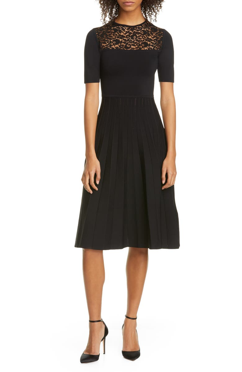JASON WU COLLECTION Lace Panel Pleated Dress, Main, color, BLACK/ BLACK