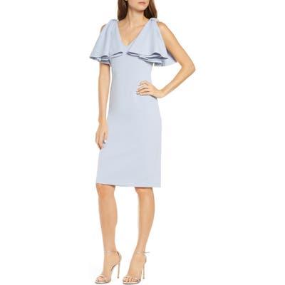 Eliza J Bow Shoulder Sleeveless Sheath Dress, Blue