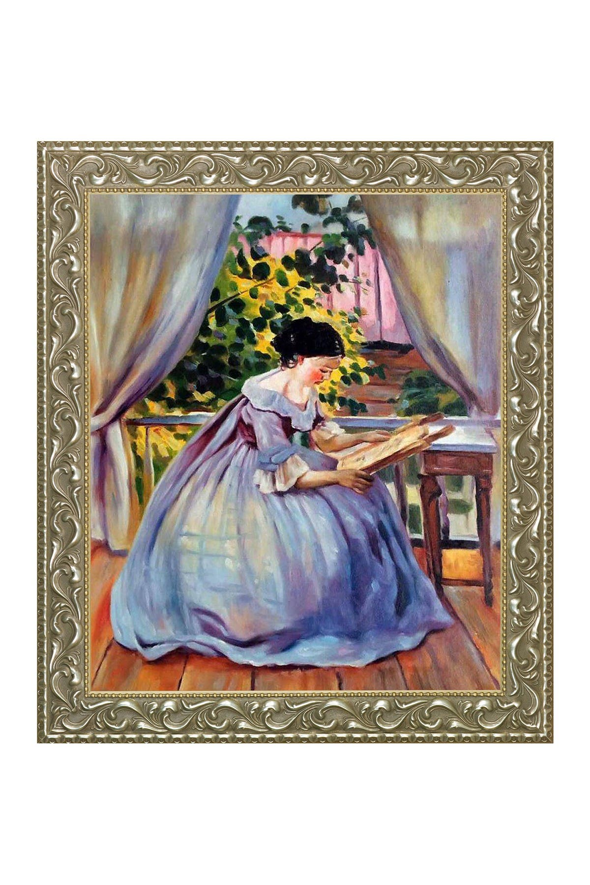 "Image of Overstock Art Lady Embroidering with Rococo Silver - 25.5"" x 29.5"""