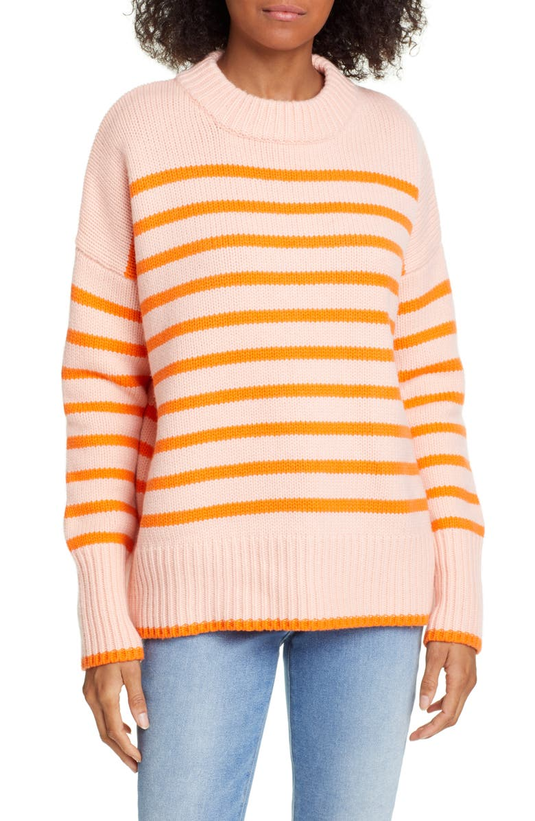 LA LIGNE Marin Wool & Cashmere Sweater, Main, color, PEACH/ ORANGE